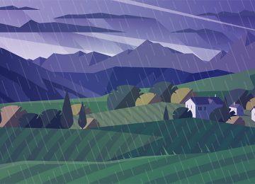 גשם, שמש, לילה